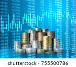 investment concept  coins graph ... | Shutterstock . vector #755500786
