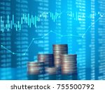 investment concept  coins graph ... | Shutterstock . vector #755500792