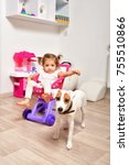 cute little girl and a young...   Shutterstock . vector #755510866