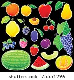 Fruit Set With White Outlines...