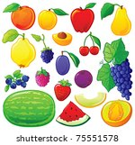 Fruit Set With Color Outlines....
