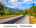 road to the mountains | Shutterstock . vector #755516602