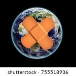earth with patch   elements of... | Shutterstock . vector #755518936