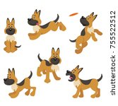 a set of german shepherd... | Shutterstock .eps vector #755522512
