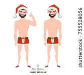 sexy man wearing santa claus... | Shutterstock .eps vector #755528056