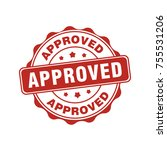 approved circle sign stamp label | Shutterstock .eps vector #755531206