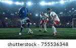 soccer game moment on the... | Shutterstock . vector #755536348