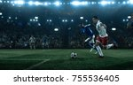 soccer game moment on the... | Shutterstock . vector #755536405