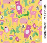 seamless pattern with cute... | Shutterstock .eps vector #755544385