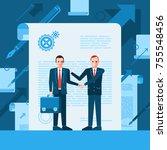 two businessmen with handshake... | Shutterstock .eps vector #755548456