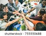 young employee startup workers...   Shutterstock . vector #755550688