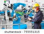engineer using laptop computer... | Shutterstock . vector #755551315