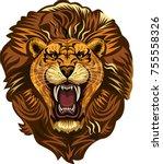 lion king face  | Shutterstock . vector #755558326