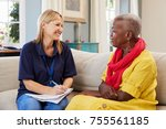 female support worker visits... | Shutterstock . vector #755561185