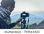woman using camera infrared... | Shutterstock . vector #755561422