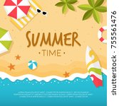 vector summer beach with beach... | Shutterstock .eps vector #755561476