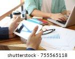 hand multitasking man working... | Shutterstock . vector #755565118