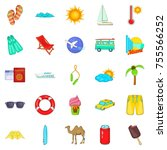 trek icons set. cartoon set of... | Shutterstock .eps vector #755566252