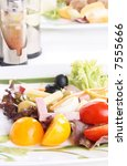 tasty salad with ham and... | Shutterstock . vector #7555666