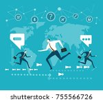 business people running in... | Shutterstock .eps vector #755566726
