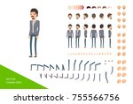male character design kit. full ... | Shutterstock .eps vector #755566756