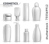 realistic cosmetic bottles mock ... | Shutterstock .eps vector #755569912