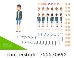 male character design kit. full ... | Shutterstock .eps vector #755570692