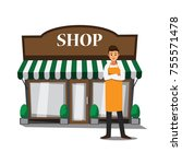 welcome to our shop   vector... | Shutterstock .eps vector #755571478