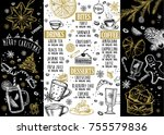 christmas food menu for... | Shutterstock .eps vector #755579836
