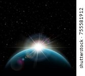 exoplanets in outer space.... | Shutterstock .eps vector #755581912