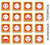 emoticon icons set in red color ... | Shutterstock . vector #755589526
