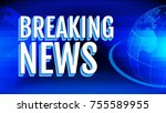 breaking news letters. tv show... | Shutterstock .eps vector #755589955