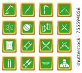 Ninja Tools Icons Set In Green...