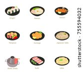 japanese food icons set.... | Shutterstock . vector #755594032