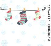 sock cartoon vector. snow...   Shutterstock .eps vector #755594182