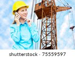 young architect woman wearing a ... | Shutterstock . vector #75559597