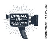 hand drawn 90s themed badge...   Shutterstock .eps vector #755597302