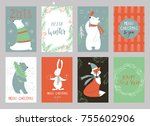 christmas set  hand drawn style ... | Shutterstock .eps vector #755602906