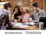 portrait of young people... | Shutterstock . vector #755603026
