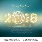 vector 2018 happy new year... | Shutterstock .eps vector #755604586