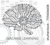 human brain on a digital... | Shutterstock .eps vector #755606608