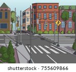 city street with buildings ... | Shutterstock .eps vector #755609866