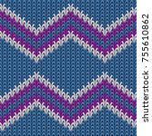 zigzag knitted background. ugly ...   Shutterstock .eps vector #755610862