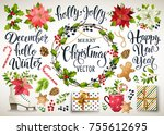 christmas set design... | Shutterstock .eps vector #755612695