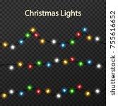 set of color garlands  festive... | Shutterstock .eps vector #755616652