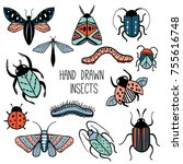 set of colorful hand drawn... | Shutterstock .eps vector #755616748