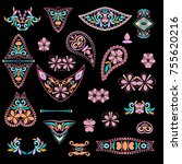 a colorful collection   paisley ... | Shutterstock .eps vector #755620216