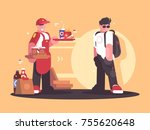 seller of fastfood in uniform.... | Shutterstock .eps vector #755620648