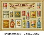 vintage grocery set. eps10... | Shutterstock .eps vector #755622052
