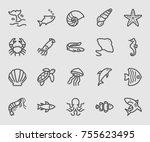sea animals line icon   Shutterstock .eps vector #755623495